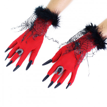 the halloween red gloves