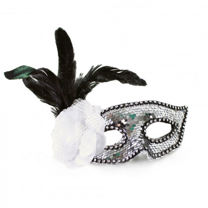 Silver mask with flower and feathers