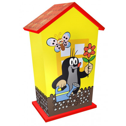 the wooden money box with Mole