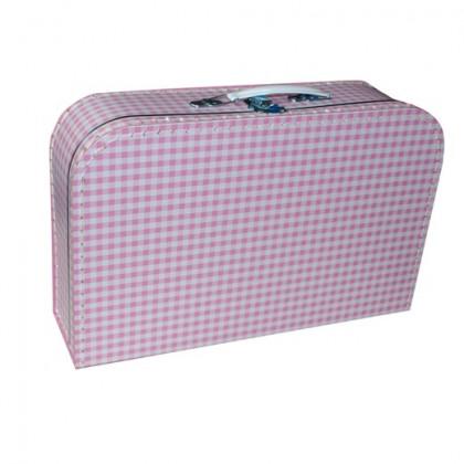 Children's suitcase pink white checkered