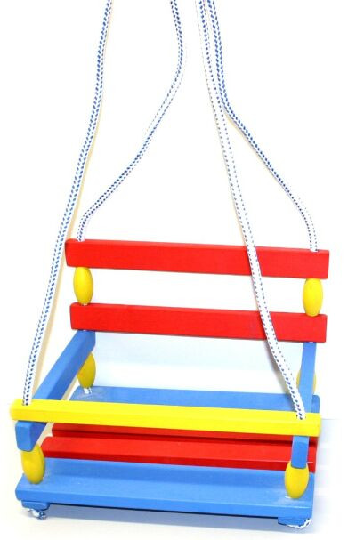 the wooden coloured swing