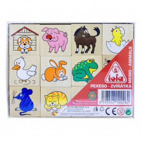 the pexeso pairs memory game, wooden
