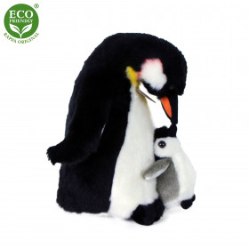 the plush penguin with young, 22 cm