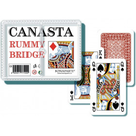 the canasta card game in a plastic box