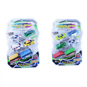 the set of cars and buses 6 pcs -2 types