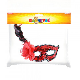 Red mask with flower and feathers