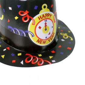 Paper black hat HAPPY NEW YEAR 12 pcs