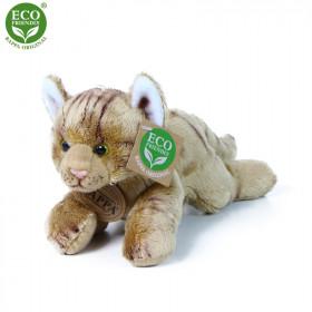 the plush cat lying brown, 18 cm
