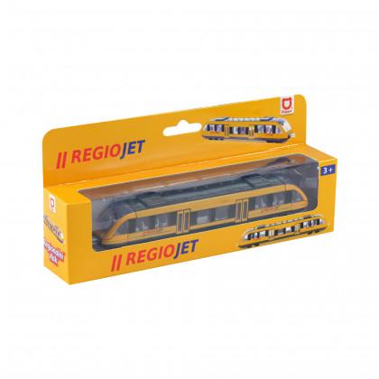 the yellow RegioJet metal/plastic train