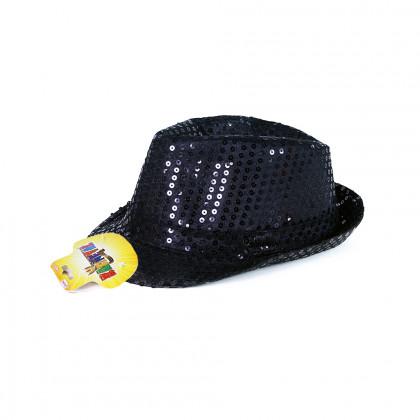Klobouk disco černý s LED pro dospělé