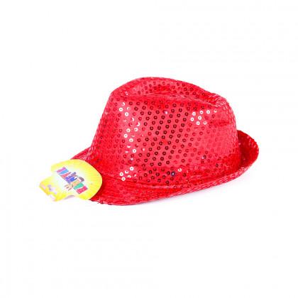 Klobouk disco červený s LED pro dospělé