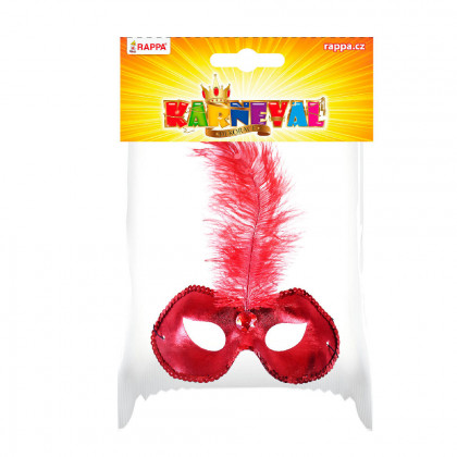 Red mask with feather