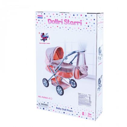 Doll stroller pink-gray