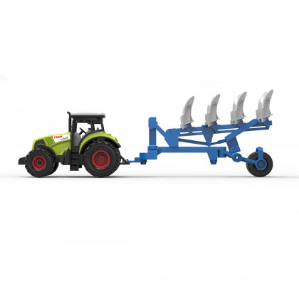 Plastic tractor with plowing siding
